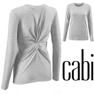 CAbi size XS heather grey twist back top
